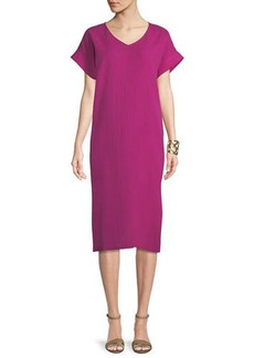 Eileen Fisher Cotton Gauze V-Neck Shift Dress