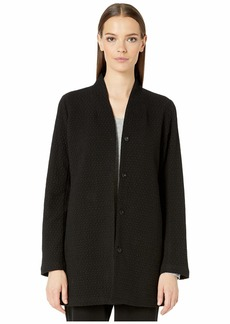 Eileen Fisher Cotton Tencel Stretch Chevron High Collar Long Jacket