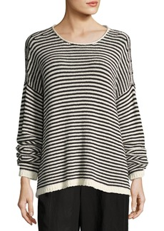 Eileen Fisher Cozy Striped Box Top  Soft White/Black