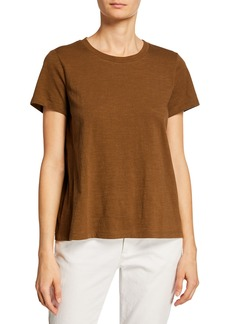 Eileen Fisher Crewneck Short-Sleeve Organic Cotton Tee
