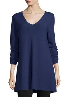 Eileen Fisher Crisp Cotton Links Long-Sleeve V-Neck Tunic