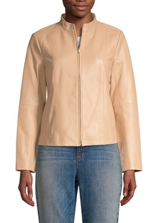 Eileen Fisher Cropped Leather Jacket