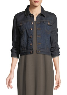 Eileen Fisher Cropped Organic Cotton Stretch Denim Jacket