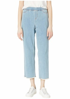 Eileen Fisher Cropped Pull-On Jeans w/ Raw Edge in Frost