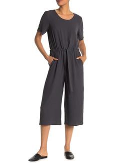 Eileen Fisher Cropped Wide Leg Scoop Neck Silk Jumpsuit
