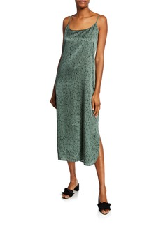 Eileen Fisher Dash-Print Scoop-Neck Maxi Slip Dress