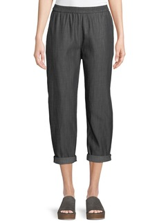 Eileen Fisher Denim Tapered-Leg Cropped Pants