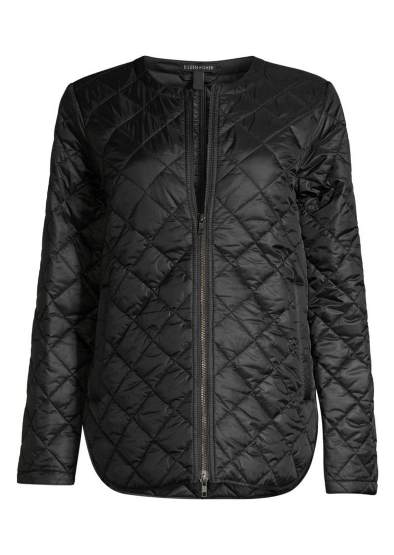Eileen Fisher Diamond Quilted Recylced-Nylon Jacket
