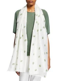 Eileen Fisher Dot Hand Painted Organic Cotton/Silk Scarf
