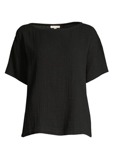 Eileen Fisher Easy-Fit Organic Cotton Gauze Box Top