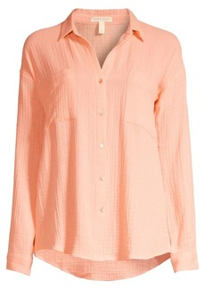 Eileen Fisher Easy-Fit Organic Cotton Gauze Shirt