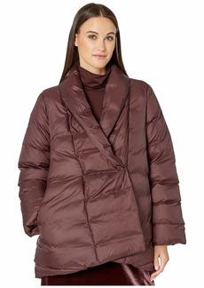 Eileen Fisher Eggshell Recycled Nylon High Shawl Collar Coat
