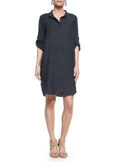 Eileen Fisher 3/4-Sleeve Organic Linen Henley Dress