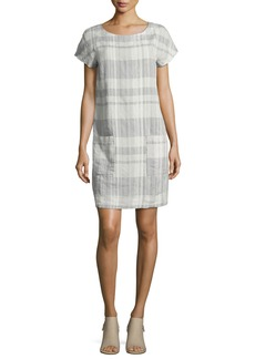 Eileen Fisher Airy Organic Linen/Cotton Plaid Shift Dress