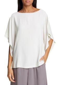 Eileen Fisher Angle Sleeve Silk Boxy Top