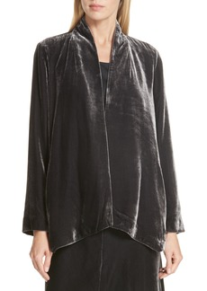 Eileen Fisher Angled Front Velvet Jacket (Regular & Petite)
