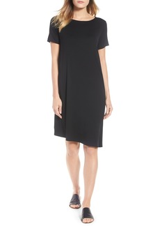 Eileen Fisher Asymmetrcial Stretch Jersey Shift Dress