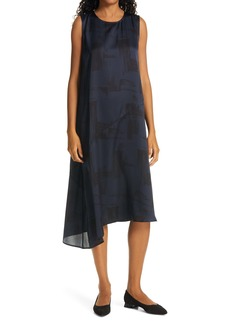 Eileen Fisher Asymmetrical Silk & Organic Cotton Midi Dress