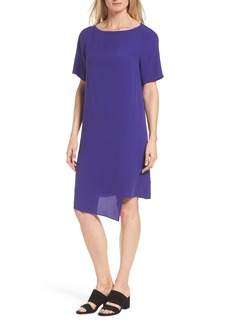 Eileen Fisher Asymmetrical Silk Shift Dress (Regular & Petite)