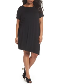 Eileen Fisher Asymmetrical Stretch Jersey Shift Dress (Plus Size)