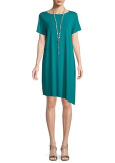 Eileen Fisher Ballet-Neck Asymmetric-Hem Jersey Dress