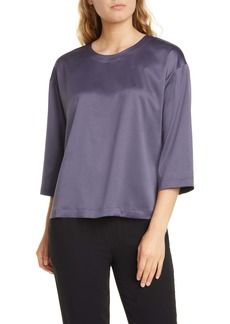 Eileen Fisher Ballet Neck Satin Box Top