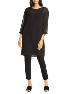 Eileen Fisher Ballet Neck Silk Shift Dress
