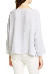 Eileen Fisher Ballet Neck Stripe Organic Cotton Top