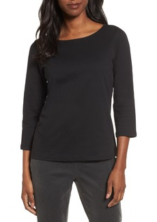 Eileen Fisher Ballet Neck Three Quarter Sleeve Top