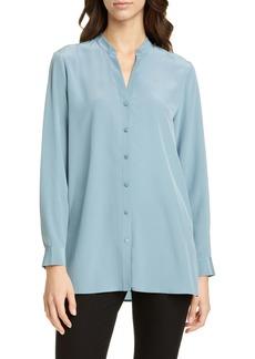 Eileen Fisher Band Collar Silk Blouse