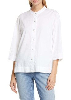 Eileen Fisher Band Collar Stretch Organic Cotton Blouse (Regular & Petite)