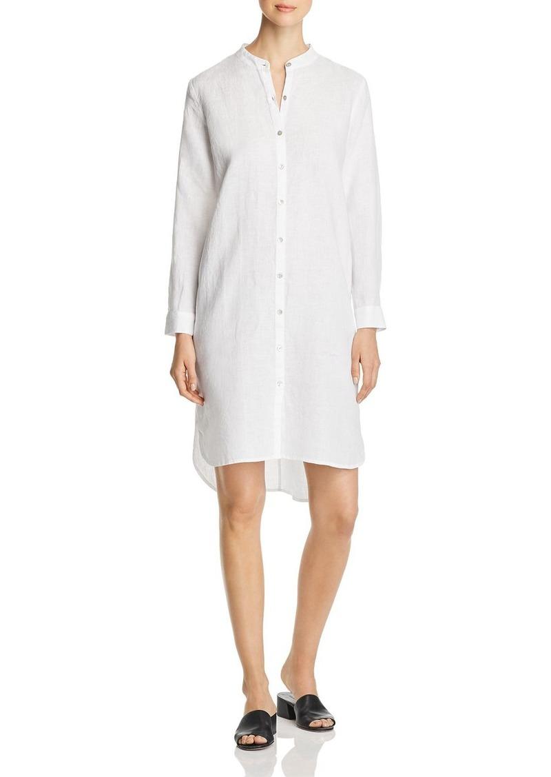 Eileen Fisher Banded-Collar Linen Shirt Dress