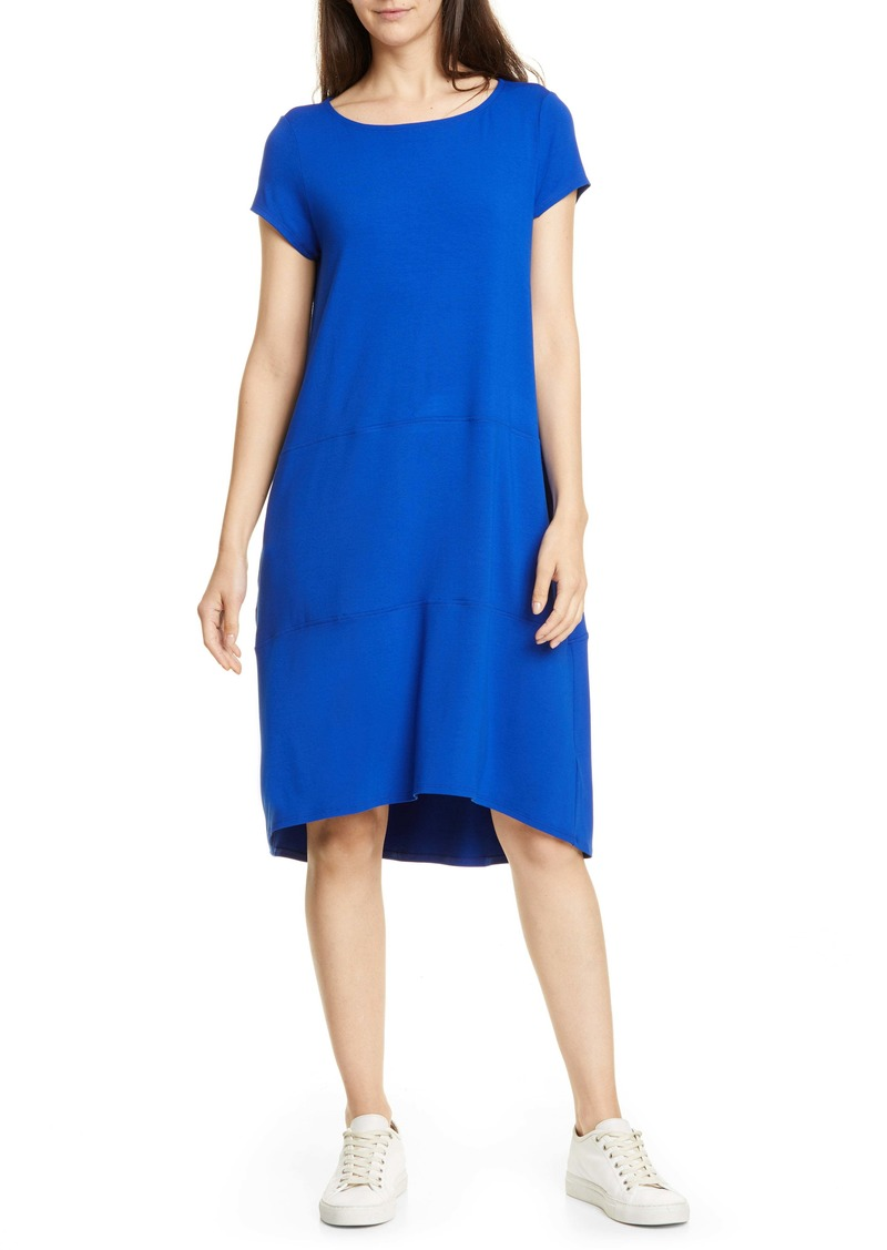 Eileen Fisher Bateau Neck Cap Sleeve Dress (Regular & Petite)