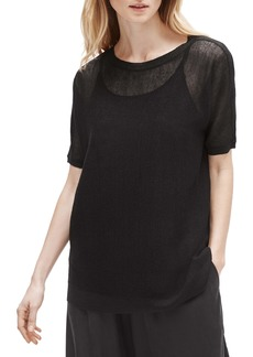Eileen Fisher Bateau Neck Elbow Sleeve Sweater