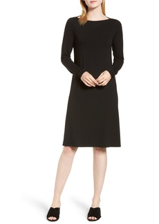 Eileen Fisher Bateau Neck Jersey Dress (Regular & Petite)