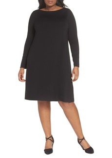 Eileen Fisher Bateau Neck Jersey Shift Dress (Plus Size)
