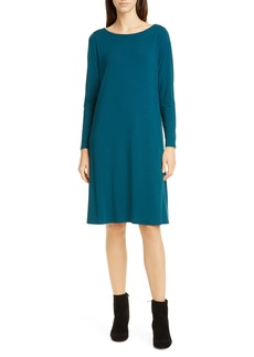 Eileen Fisher Bateau Neck Long Sleeve Tencel® Lyocell Dress (Regular & Petite)
