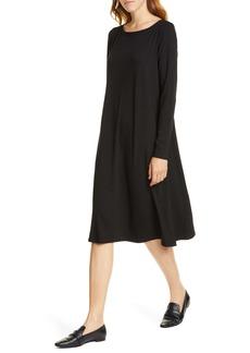 Eileen Fisher Bateau Neck Long Sleeve Tencel® Lyocell Dress (Regular & Petite)