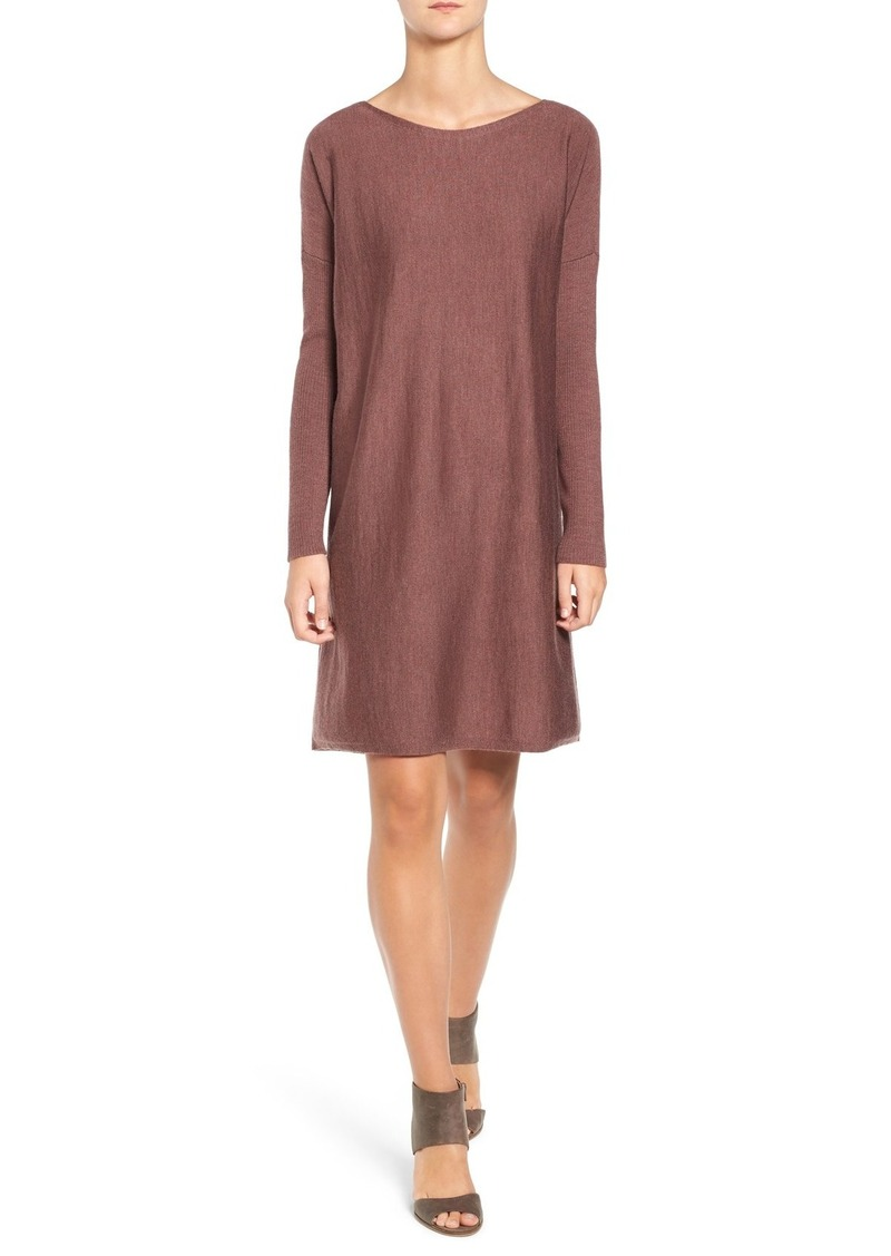 Eileen Fisher Bateau Neck Merino Wool Jersey Dress