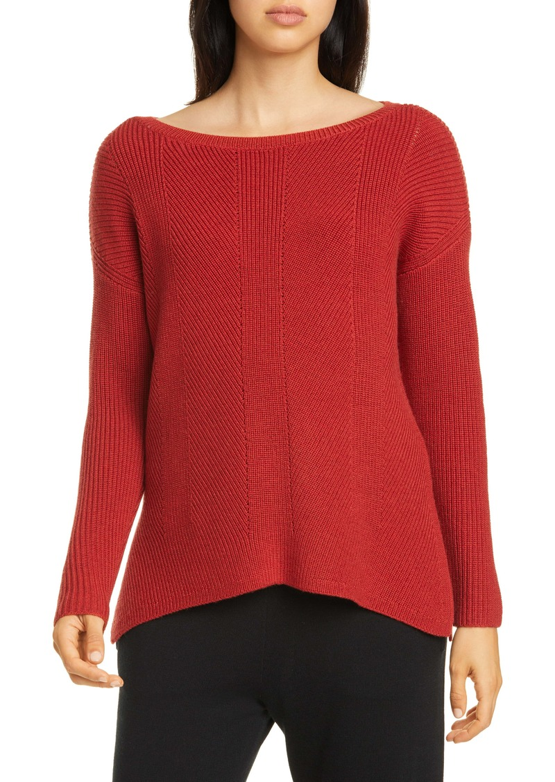 Eileen Fisher Bateau Neck Merino Wool Sweater