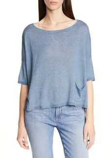 Eileen Fisher Bateau Neck Organic Linen Boxy Top