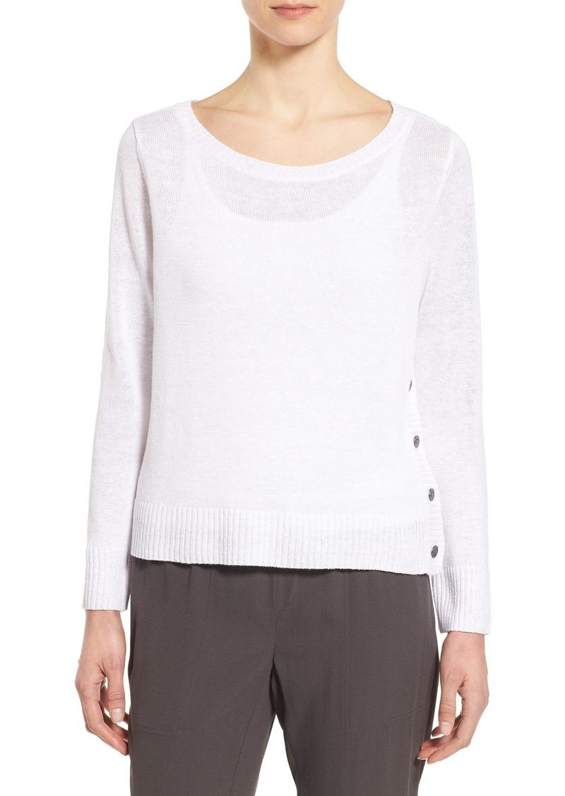 Eileen Fisher Bateau Neck Organic Linen Sweater (Regular & Petite)