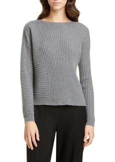 Eileen Fisher Bateau Neck Ribbed Cashmere Sweater