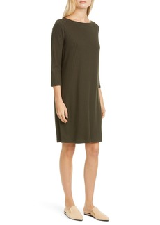 Eileen Fisher Bateau Neck Ribbed Shift Dress