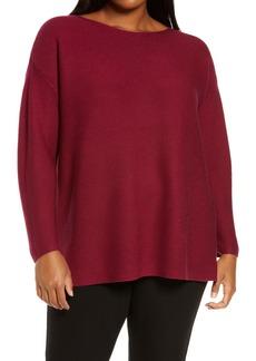 Eileen Fisher Bateau Neck Silk & Cashmere Tunic Sweater (Plus Size)