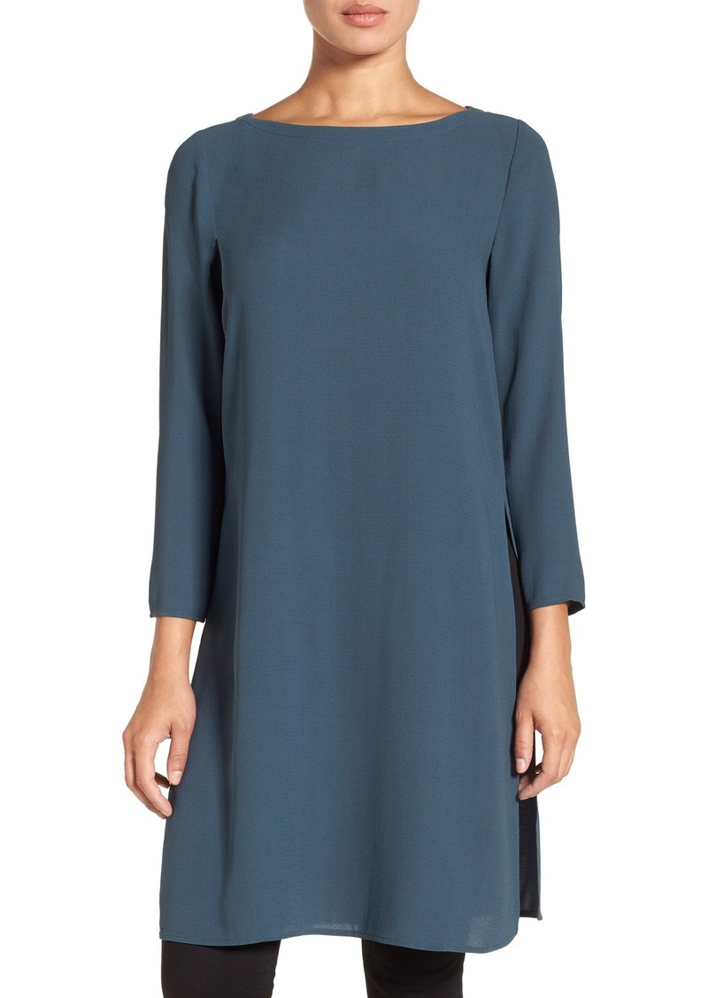 e2784331d6b341 Eileen Fisher Eileen Fisher Bateau Neck Silk Crepe Tunic (Regular ...