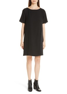 Eileen Fisher Bateau Neck Silk Dress (Regular & Petite)