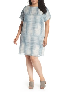 Eileen Fisher Bateau Neck Silk Shift Dress (Plus Size)