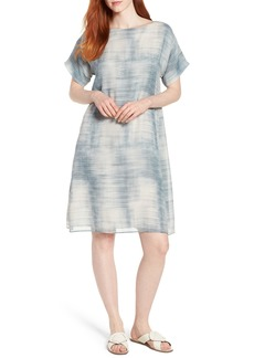 Eileen Fisher Bateau Neck Silk Shift Dress (Regular & Petite)