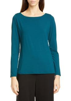 Eileen Fisher Bateau Neck Slim Tencel® Lyocell Top (Regular & Petite)